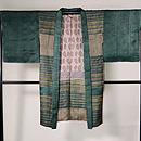 緑のサリーストライプ長羽織 正面