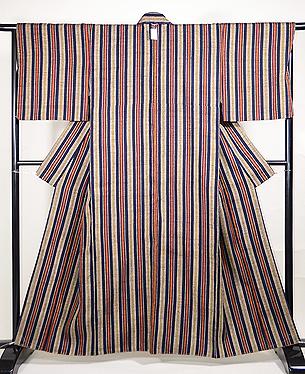 浦野理一作 藍にグレー、赤、黄の太縞縦節紬