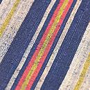 浦野理一作 藍にグレー、赤、黄の太縞縦節紬 質感・風合