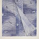 露芝に蜻蛉の図ぼかし絽小紋 上前