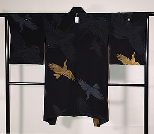 烏と鷺の単衣羽織