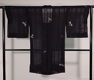 蜻蛉刺繍縦紗羽織