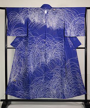 秋野に虫の刺繍単衣
