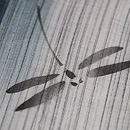 萩と撫子に蜻蛉文様縦ぼかし綿麻小紋 質感・風合