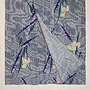 簾紋に菖蒲の単衣小紋 上前