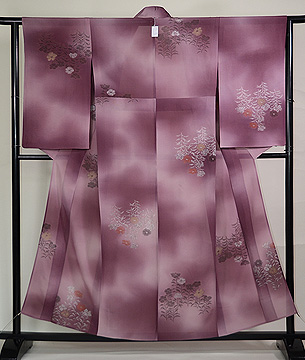 紫暈しナデシコの単衣小紋