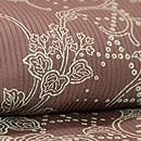 茶地縦絽籠目紋に唐草文様付下 質感・風合