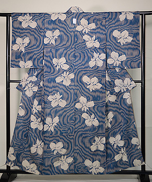 簾紋に菖蒲の絽地小紋