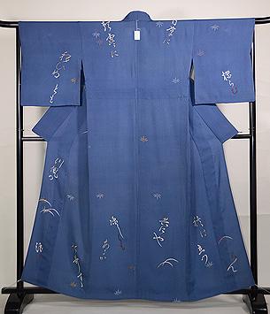 和歌に竹紋変わり織単衣付下