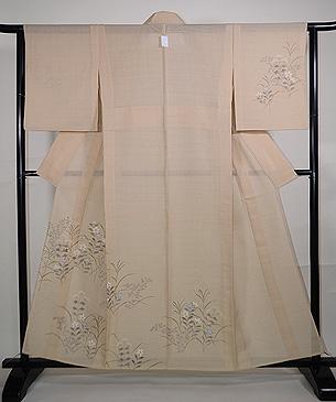 秋野の花々変わり織紗紬