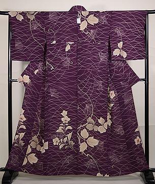 ススキに桔梗紋錦紗