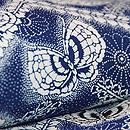 浦野理一作 絹紬地藤の菱文様に蝶々の小紋 質感・風合