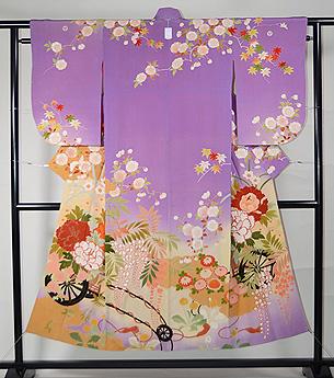 紫暈し花車に四季の花文様訪問着