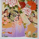 紫暈し花車に四季の花文様訪問着 上前