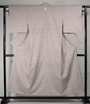 ぜんまい織に花菱の型染め小千谷紬