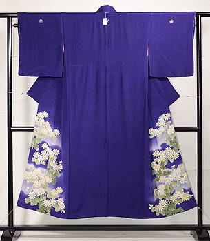 茄子紺地白菊の色留袖