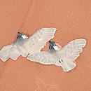 茶地群れ雀の付下 質感・風合