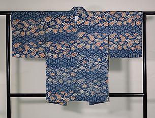 鎌倉芳太郎作 椿に蝶型絵染めの羽織
