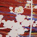 紅色に白梅の小紋 質感・風合