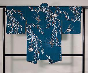 青緑色柳にツバメ羽織