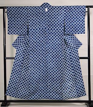 藍染め絞り網目文様木綿単衣