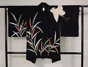 葦原に白鷺の黒羽織