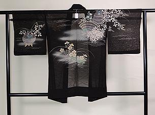 秋草に虫かご文様紋紗の羽織