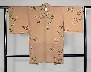 笹に雀文様羽織