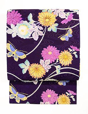 菊と蝶染名古屋帯