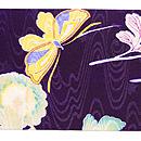 菊と蝶染名古屋帯 前柄