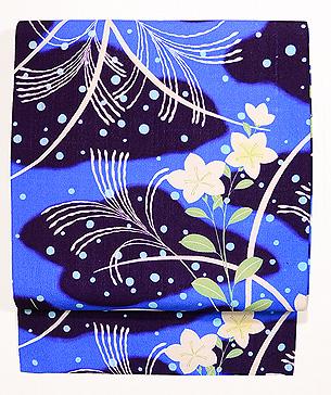 水玉に桔梗とススキ名古屋帯