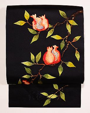 枝ざくろ刺繍名古屋帯