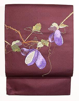 アケビの刺繍名古屋帯