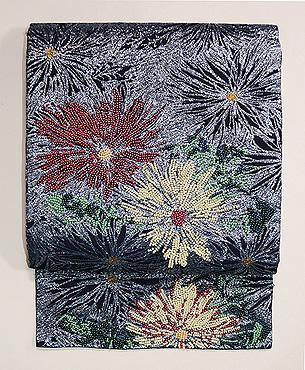 乱菊ビーズ刺繍名古屋帯