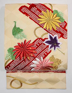 筏に菊と紅葉刺繍名古屋帯