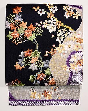 流水に梅紅葉の刺繍名古屋帯