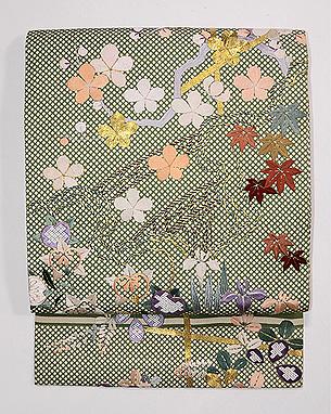行儀小紋に四季の花文様名古屋帯