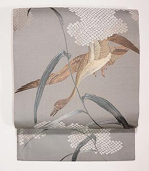 ススキ野に雁の刺繍名古屋帯
