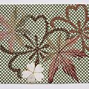 行儀小紋に桜・楓の刺繍名古屋帯 前柄