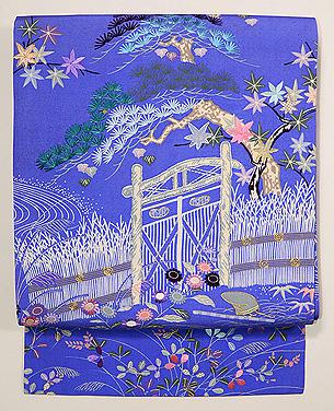 間垣に木戸四季の草花名古屋帯