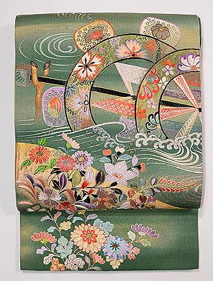 秋の小花と水車の刺繍袋帯