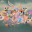 秋の小花と水車の刺繍袋帯 前柄