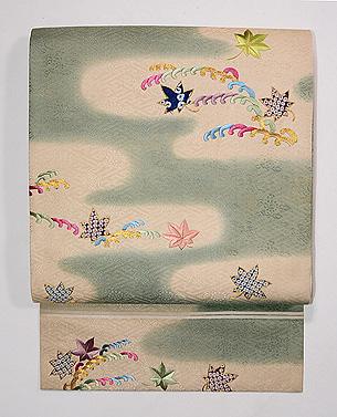 小波紋と楓の刺繍開き名古屋帯
