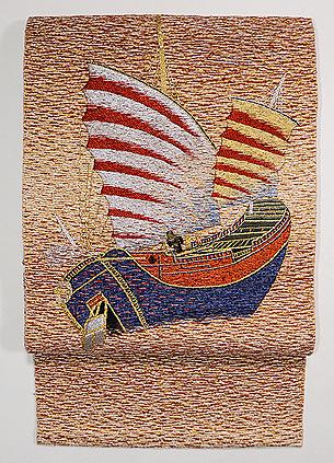 アラビア船の刺繍名古屋帯