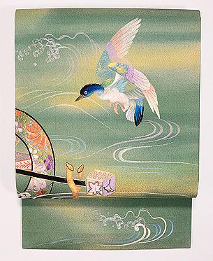 水車に雁の図名古屋帯