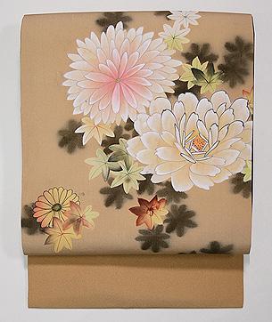 菊とバラの染め名古屋帯