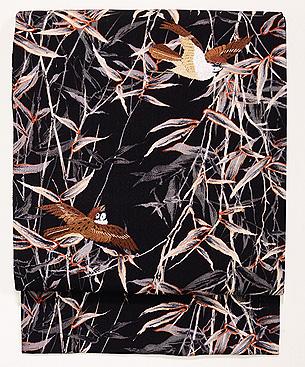 竹藪に雀縮緬名古屋帯
