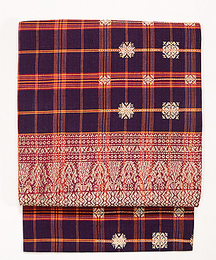 インドネシア 茶地格子に紋織名古屋帯