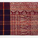 インドネシア 茶地格子に紋織名古屋帯 前柄