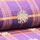 インドネシア 茶地格子に紋織名古屋帯 質感・風合